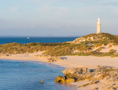 perth: Pinky Beach and Bathurst Lighthouse on Rottnest Island, near Perth in Western Australia. Stock Photo