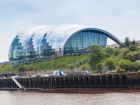 NEWCASTLE UPON TYNE, ENGLAND - JULY 5, 2012: A view of Sage Gateshead, a concert venue and centre for musical education, located in Gateshead on the south bank of the River Tyne, in the North East of England. Editorial