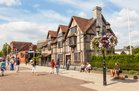 STRATFORD-UPON-AVON, ENGLAND - AUGUST 9, 2012: Shakespeare's Birthplace is a restored 16th-century half-timbered house situated in Henley Street, Stratford-upon-Avon, Warwickshire, England. It is believed William Shakespeare was born here in 1564 and also