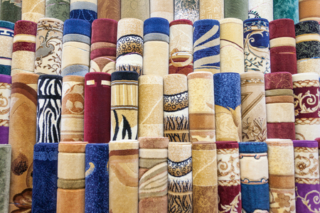 Carpets on sale at the Carpet Souk in Abu Dhabi in the United Arab Emirates. Stock Photo