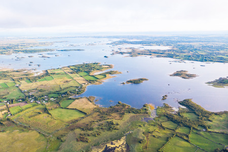 An aerial view of  Lough Corrib, near Headford in County Galway, Ireland.