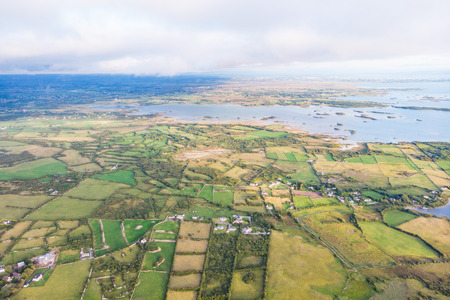 An aerial view of the Cloughanover countyside and Lough Corrib, near Headford in County Galway, Ireland.