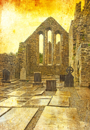 A textured scene of Cong Abbey in the village of the same name straddling the County Galway and County Mayo borders in Ireland.