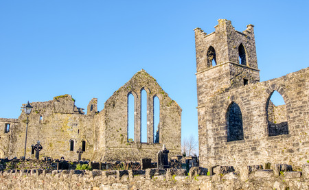 Cong Abbey in the village of the same name, straddling the County Galway and County Mayo borders in Ireland. The abbey dates back to the 12th Century. Фото со стока