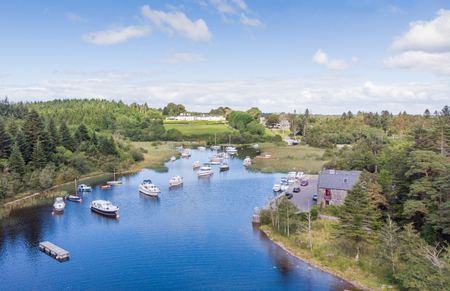 An aerial view of leisure boats at Lisloughrey Pier, near the village of Cong, in County Galway, Ireland.