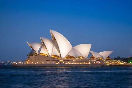 SYDNEY, AUSTRALIA - FEBRUARY 11, 2019: Night time at Sydney Opera House, Australia's most recognisable building and a UNESCO World Heritage Site.