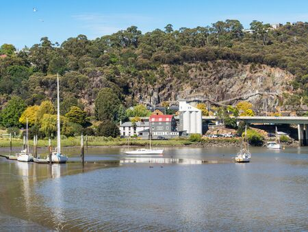 Boats and yachts moored in the Tamar River in Launceston, in Tasmania, Australia.