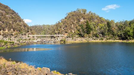 Alexandra Suspension Bridge crosses Cataract Gorge in the lower section of the South Esk River in Launceston, Tasmania, Australia,