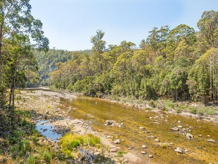 The Mersey River in northern Tasmania, Australia, rises in the lake district near Mount Pelion East on the Central Plateau and flows 146 km north-east before entering the Bass Strait at Devonport.