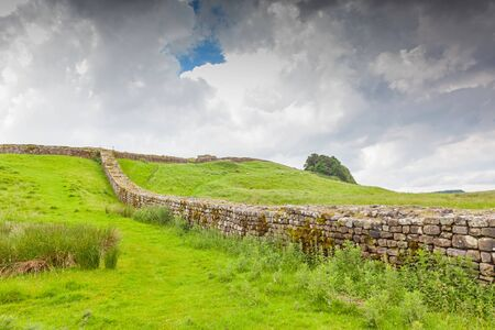 A section of Hadrian's Wall in Northumberland, England.