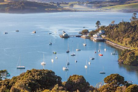 Yachts moored at Mangonui, a picturesque resort town on North Island, New Zealand.