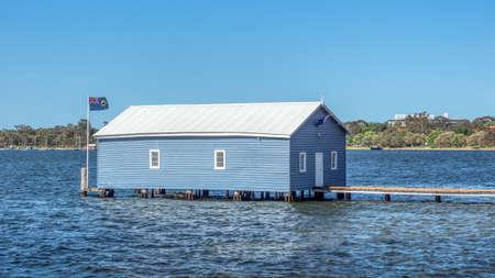 The Crawley Edge Boathouse, aka the Blue Boathouse, in the Swan River in Perth in Western Australia.