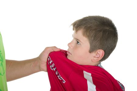 offend: Little boy offend on a white background Stock Photo