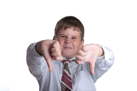 discontent: The boy hands shows discontent on a white background