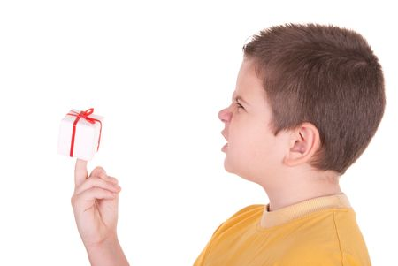 offended: Offended boy on  white background