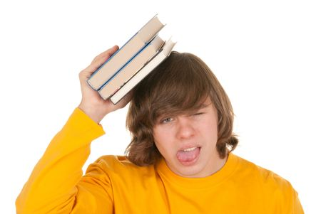 denote: Dissatisfied teenager with book on white background