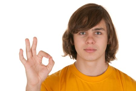concordance: Happy teenager on white background