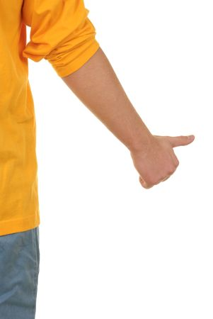 denote: Hand with lifted thumb on white background