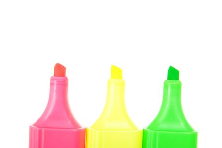 Colour markers on white background photo
