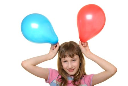 pleasantness: Happy girl with two colour balloons isolated in white