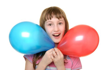 pleasantness: Girl with two colour balloons isolated in white Stock Photo