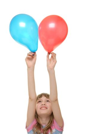 emote: Girl with two balloons isolated in white Stock Photo