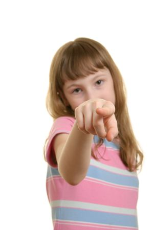 denote: Girl points  finger isolated in white