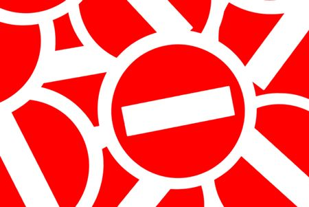 prohibitive: Many white prohibitive signs on red background