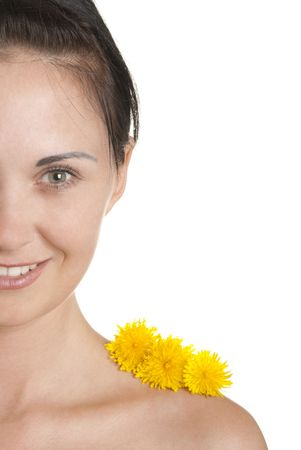pleasantness: Three yellow flowers on shoulder at woman isolated In white Stock Photo
