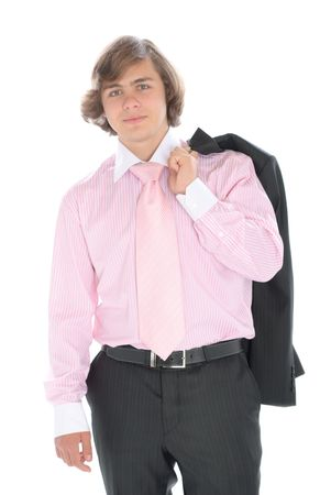 emote: Smiling teenager in suit with ties isolated in white Stock Photo