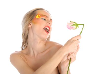 Young woman with flower sings isolated in white photo