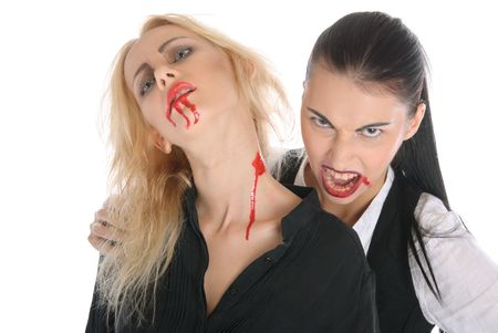 Malicious woman -vampire and beautiful women isolated in white photo