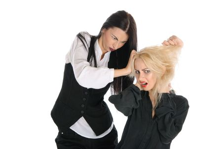 pangs: Quarrel of two women  isolated in white