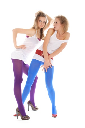 panty hose: Two young woman in colour stockings Stock Photo