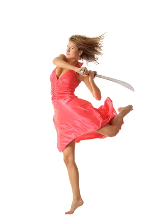 weaponry: Young woman in jump with sword