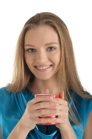 endorsement: Woman with brackets on teeth and cup