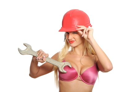 Sexual young woman with wrench Stock Photo - 8567292