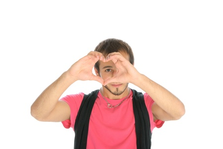 emote: Young man shows heart symbol