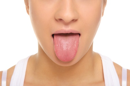 Woman stick ones tongue out Stock Photo