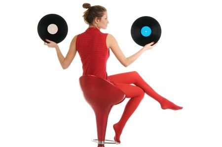 panty hose: Young beautiful woman with vinyl records Stock Photo