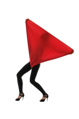 Woman in black tights with a red cloth photo