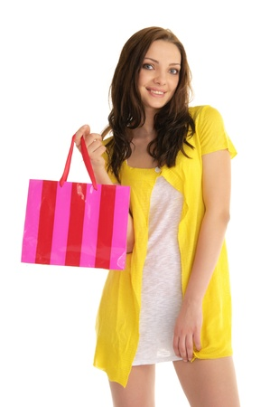 happy woman with shopping bag photo