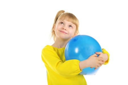 children celebration: Happy girl with balloon Stock Photo