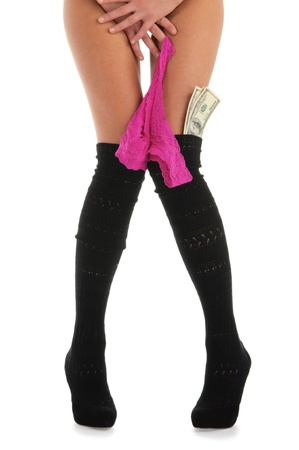 Female legs with panties and money isolated on white