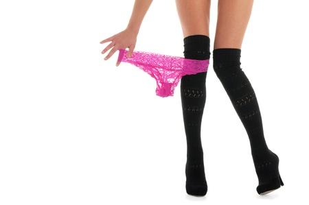 beautiful female legs with panties Stock Photo