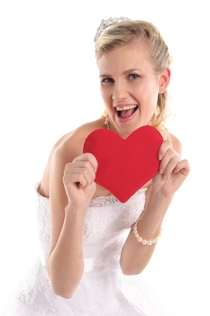 happy bride with symbol of the heart Stock Photo - 9470555