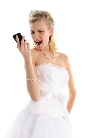 Dissatisfied bride with mobile phone Stock Photo - 9470554