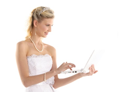 happy bride with laptop