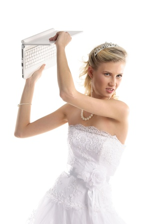 offended bride with laptop Stock Photo - 9470553