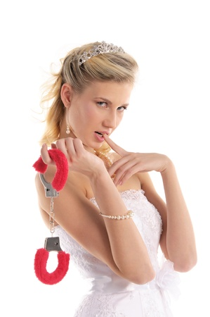 sexy bride with handcuffs Stock Photo - 9470557